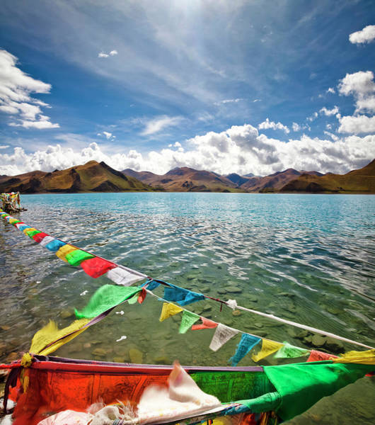 Wall Art - Photograph - Prayer Flags Flying Over The Yamdrok by Loonger