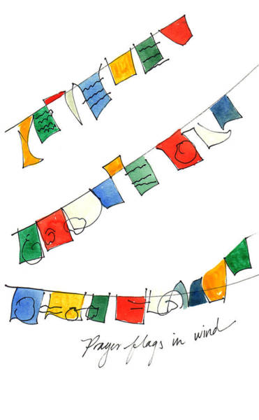 Painting - Prayer Flags In Wind by Anna Elkins