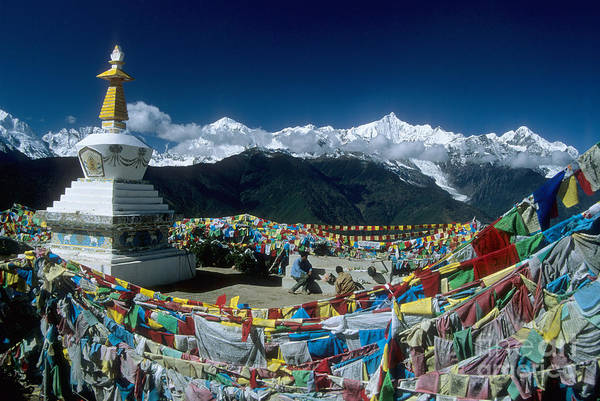Photograph - Prayer Flags In The Himalayan Mountains by James Brunker
