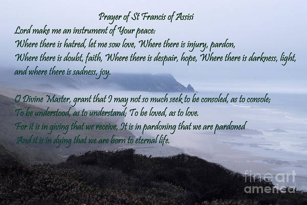 Divine Love Wall Art - Photograph - Prayer Of St Francis Of Assisi by Sharon Elliott