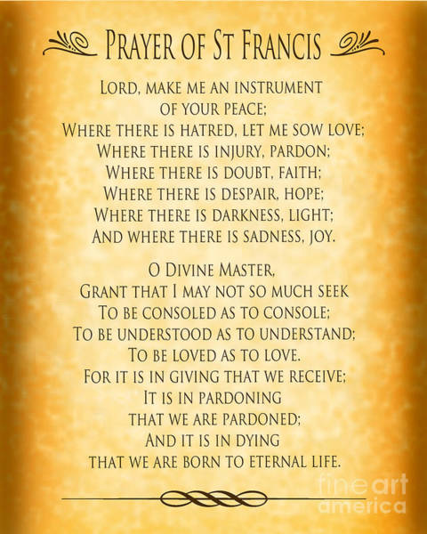 Wall Art - Digital Art - Prayer Of St Francis - Pope Francis Prayer - Gold Parchment by Ginny Gaura