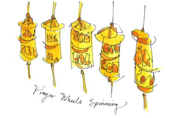 Painting - Prayer Wheels Spinning by Anna Elkins