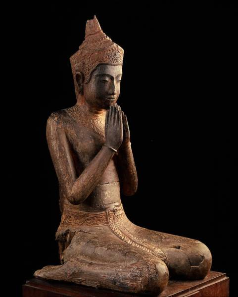 Wall Art - Photograph - Praying Figure  Angkor Wat, 16th Centurynational Museum, Phnom Pheh by Cambodian School