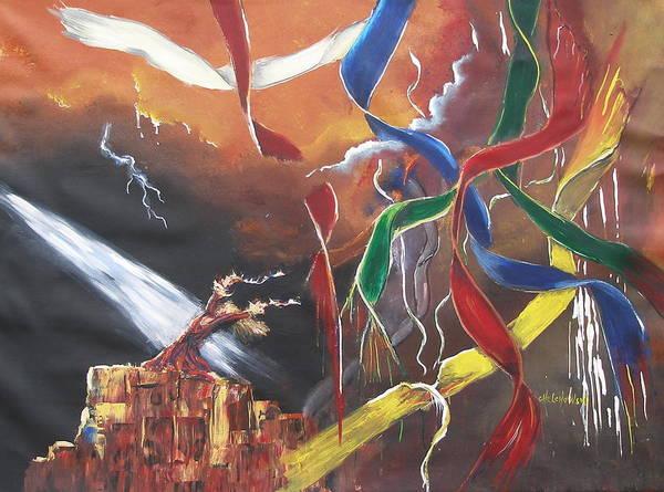 Painting - Praying For Rain by Miroslaw  Chelchowski