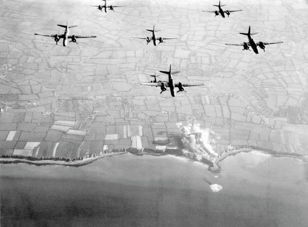 Battery D Wall Art - Photograph - Pre-d-day Landings Bombings by Us Air Force