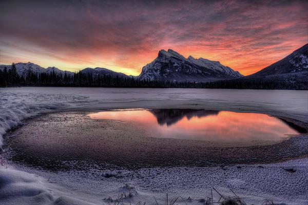 Vermillion Lakes Wall Art - Photograph - Pre-dawn Christmas Day Sky Over Mt by Howard Kilgour