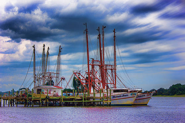 Photograph - Shrimp Boat - Dock - Pre-season Maintenance by Barry Jones