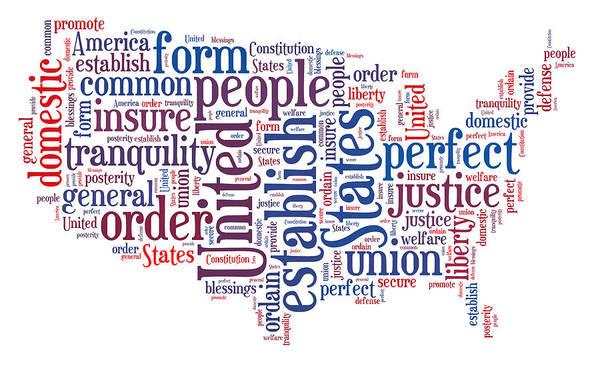 Digital Art - Preamble - Map Of America 2 by Paulette B Wright