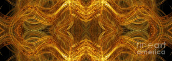 Wall Art - Digital Art - Precious Metal 3 Ocean Waves Dark Gold by Andee Design