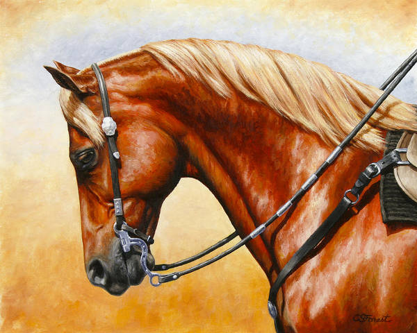 Chestnut Horse Painting - Precision - Horse Painting by Crista Forest
