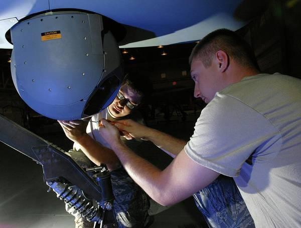 Military Air Base Photograph - Predator Uav Camera Maintenance by Us Air Force/science Photo Library