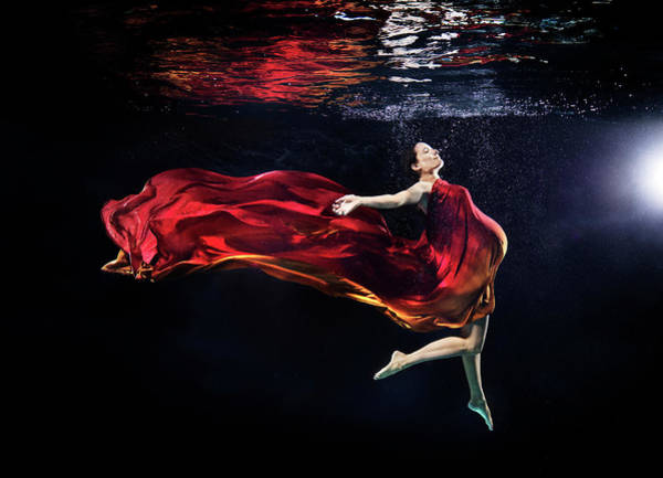 Red Dress Photograph - Pregnant Woman Under Water by Henrik Sorensen
