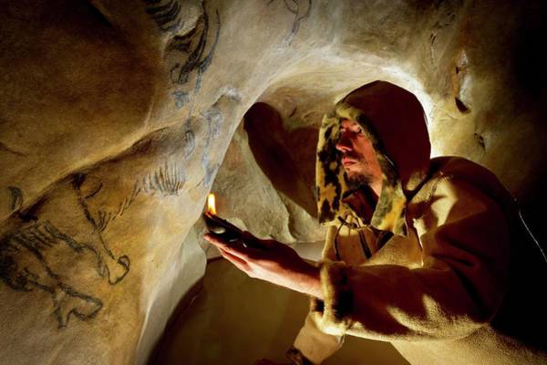 Re-enactment Wall Art - Photograph - Prehistoric Cave Paintings by Philippe Psaila