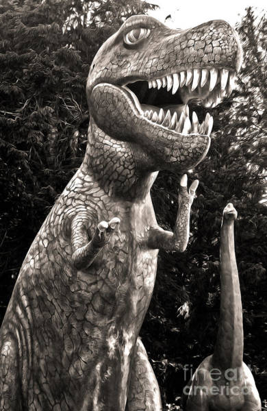 Photograph - Prehistoric Gardens - T-rex And Brontosaurus In Black And White by Gregory Dyer