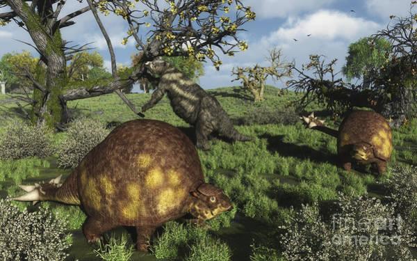 Paleobotany Digital Art - Prehistoric Glyptodonts Graze On Grassy by Walter Myers