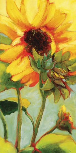 Wall Art - Painting - Bright Yellow Sunflower Morning by Jen Norton