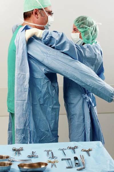 Scrub Photograph - Preparing For Surgery by Mauro Fermariello/science Photo Library