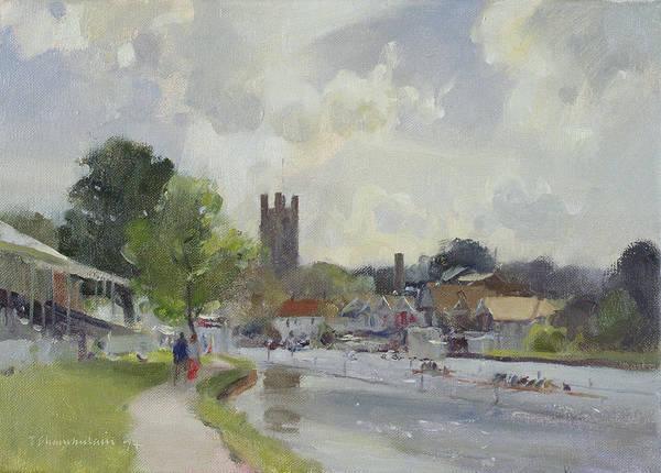 River Thames Photograph - Preparing For The Henley Regatta, 1994 Oil On Canvas by Trevor Chamberlain
