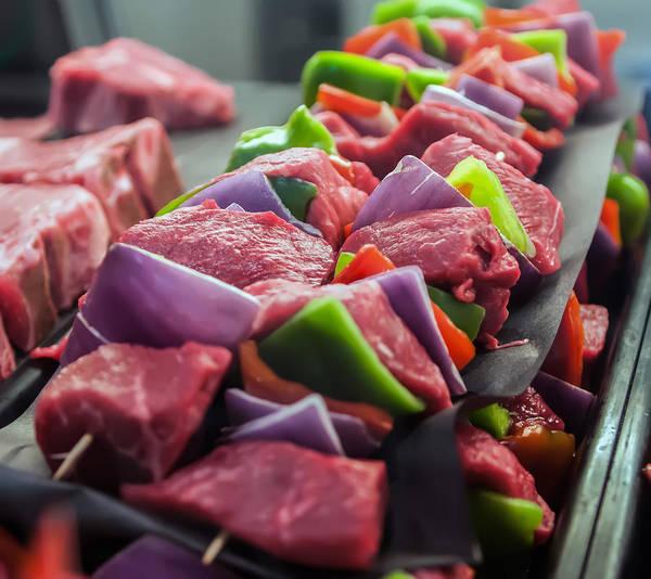 Photograph - Preparing Fresh Beef Steak Shishkabobs With Vegetables by Alex Grichenko