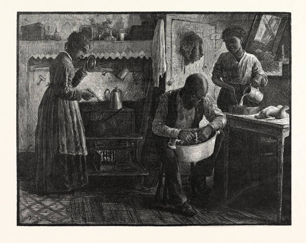 Early American History Drawing - Preparing Thanksgiving Dinner.-drawn S. G by American School