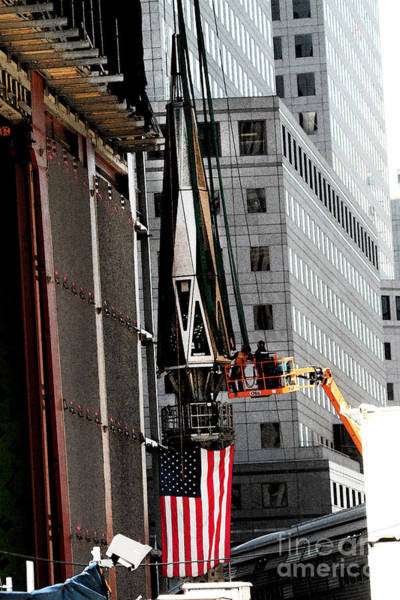 Photograph - Preparing The Final Spire At The Wtc by Steven Spak