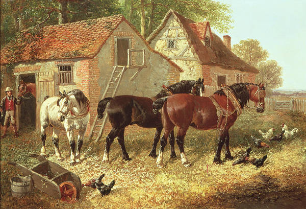 Farmyard Photograph - Preparing The Plough Horses by John Frederick Herring Jnr