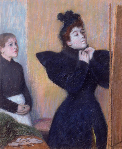 Dressing Up Photograph - Preparing To To Out, 1894 Pastel by Federigo Zandomeneghi
