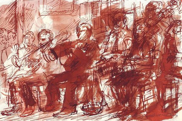 Sax Drawing - Preservation Hall Band New Orleans  by Edward Ching