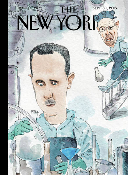 Wall Art - Painting - President Assad Cooks Up A Chemical Cocktail by Barry Blitt