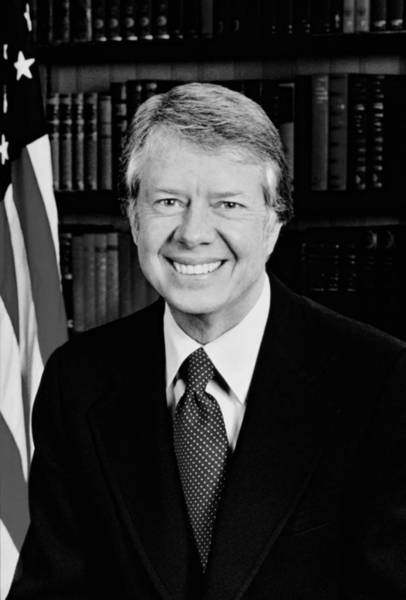 Democratic Party Photograph - President Jimmy Carter Portrait by War Is Hell Store