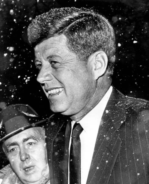 Harvard University Photograph - President John F. Kennedy In Snow by Retro Images Archive