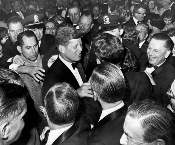 Harvard University Photograph - President John F. Kennedy In The Thick Of The Crowd by Retro Images Archive