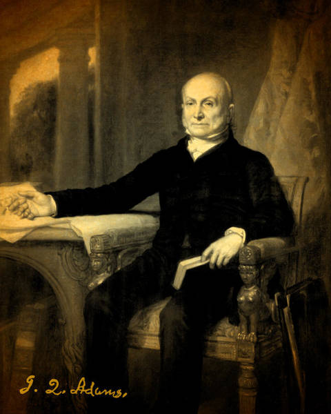 John Mixed Media - President John Quincy Adams Portrait And Signature by Design Turnpike