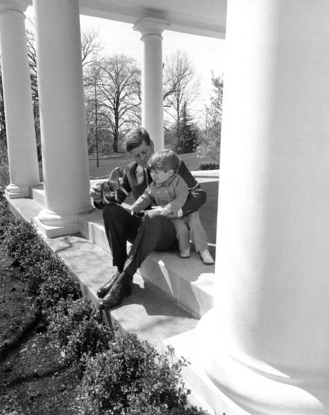 White House Photograph - President Kennedy And John-john by Underwood Archives