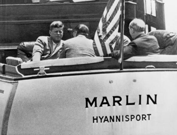 Hyannis Photograph - President Kennedy With Aides by Underwood Archives