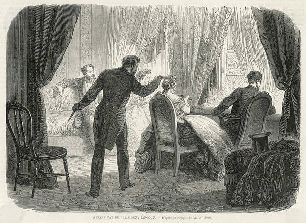 John Wilkes Booth Drawing - President Lincoln Is  Assassinated by Mary Evans Picture Library