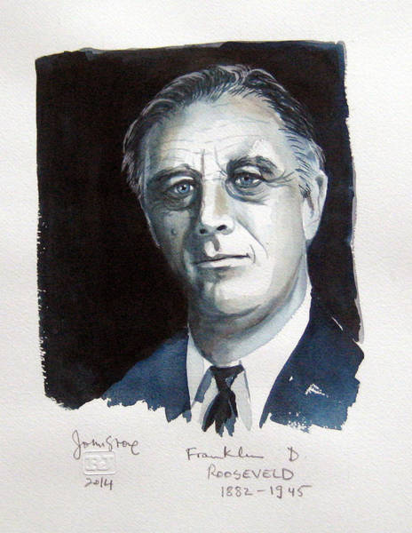 Fdr Painting - President Rooseveld by Ray Johnstone