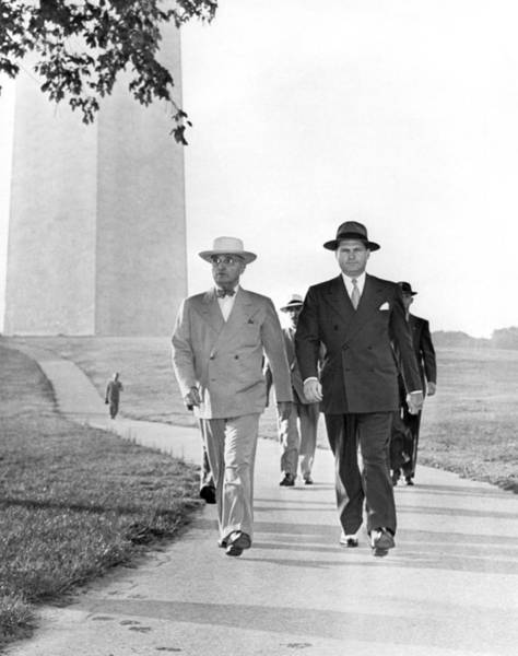 Wall Art - Photograph - President Truman On A Walk by Underwood Archives
