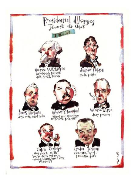 Coolidge Drawing - Presidential Allergies Through The Ages: by Barry Blitt