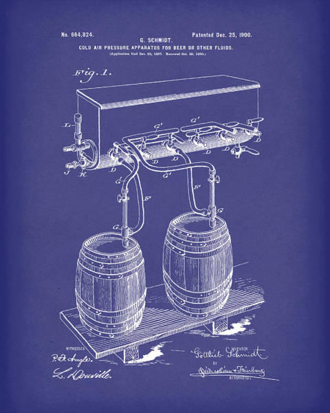 Drawing - Pressure System For Beer 1900 Patent Art Blue by Prior Art Design