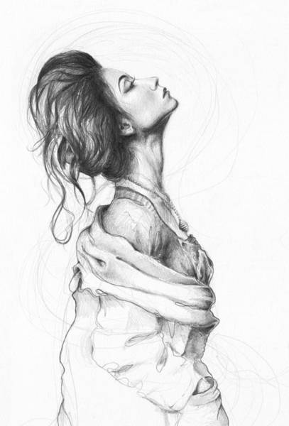 Pencil Drawing - Pretty Lady by Olga Shvartsur