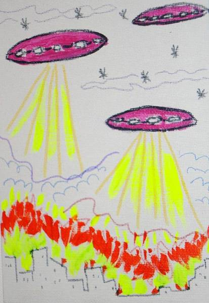 Wall Art - Painting - Pretty Pink Spaceships by Valerie Howell