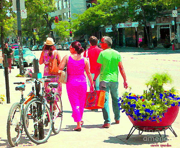 Painting - Pretty Pink Summer Dress Sunny Stroll Licari St Denis Scene Montreal Bike Racks And Flowers Cspandau by Carole Spandau