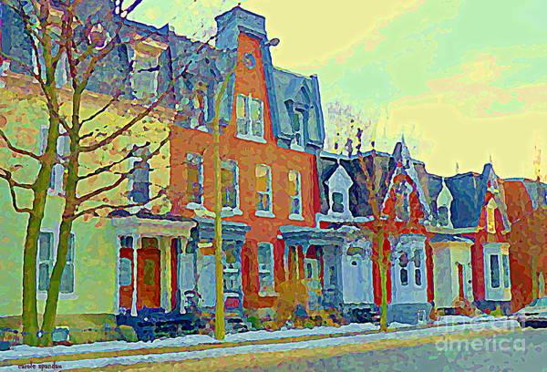 Pointe St Charles Painting - Pretty Row Houses Suburban Sidestreet Winter Pointe St Charles Montreal Art City Scenes C Spandau by Carole Spandau