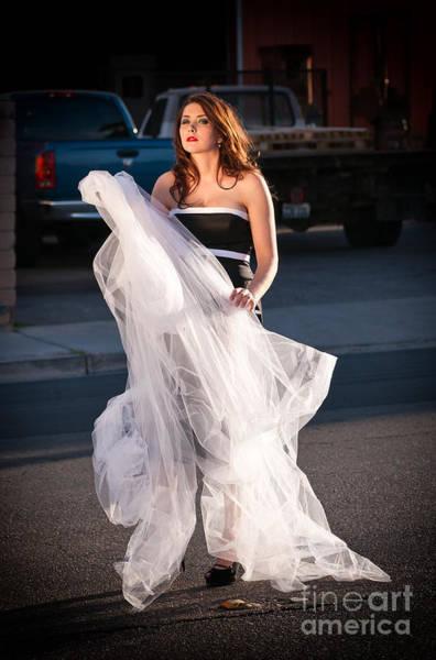 Photograph - Pretty Woman With Gun Behind The Veil by Les Palenik