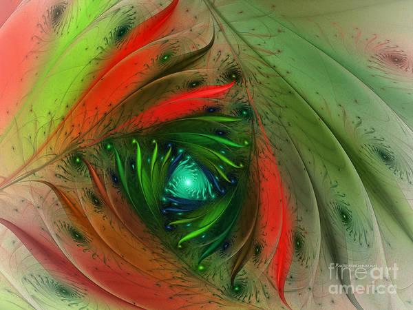 Fractal Landscape Digital Art - Pretty Wrapped Spiral-fractal Design by Karin Kuhlmann