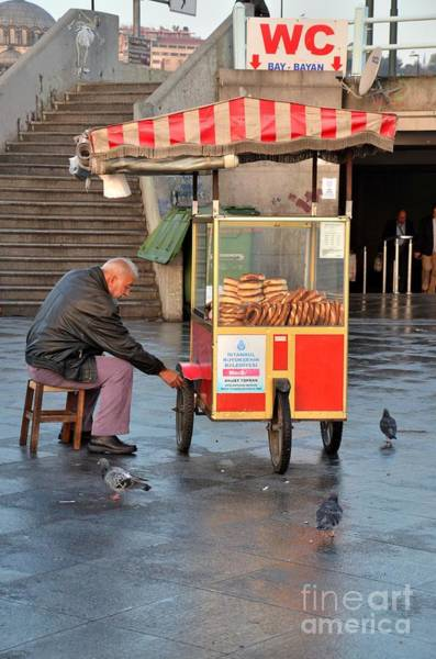 Photograph - Pretzel Seller With Pushcart Istanbul Turkey by Imran Ahmed