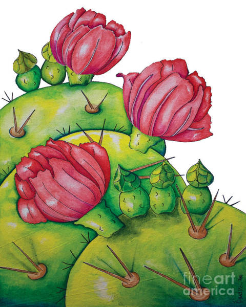 Painting - Prickly Pear Bloom by Kandyce Waltensperger