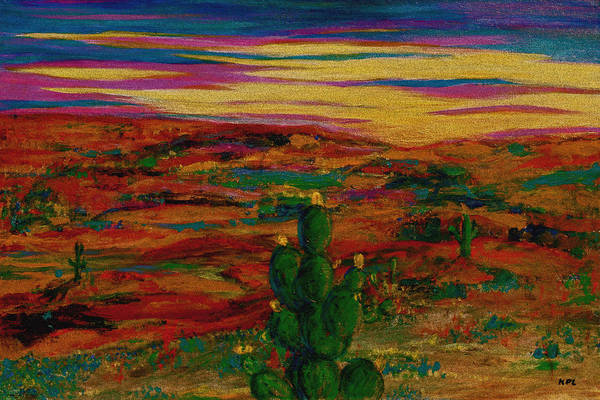 Painting - Prickly Pear Cactus At Dawn by Kathy Peltomaa Lewis