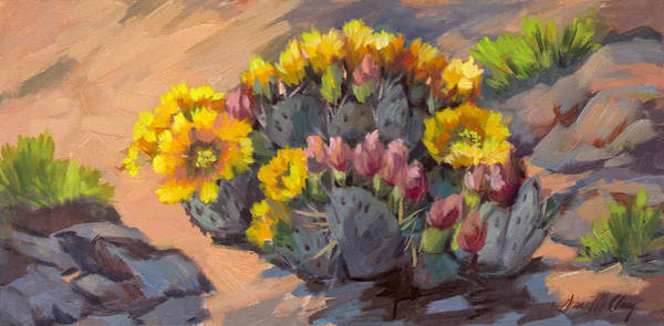 Wall Art - Painting - Prickly Pear Cactus In Bloom by Diane McClary
